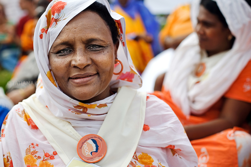 Activist at the VII World Social Forum, a woman from the 1000 PeaceWomen Across the Globe Organization - &quot;Millions of women work day in day out to promote peace.&quot;<br /> Nairobi city, Kenya.