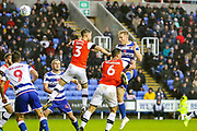 Goal Reading defender Michael Morrison (4) scores a goal 1-0 during the EFL Sky Bet Championship match between Reading and Luton Town at the Madejski Stadium, Reading, England on 9 November 2019.
