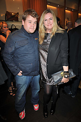 JAMES CORDEN and EMMA HILL the Creative Director of Mulberry, at a party to celebrate the launch of the new Mulberry leather case for Apple's iPhone held at the Mulberry store, Bond Street, London on 5th November 2009.