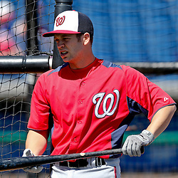 Mar 6, 2013; Clearwater, FL, USA; Washington Nationals outfielder Cutter Dykstra (16) before a spring training game against the Philadelphia Phillies at Bright House Field. Mandatory Credit: Derick E. Hingle-USA TODAY Sports
