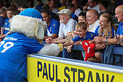 Haydon the Womble shaking hands with young AFC Wimbledon fan during the EFL Sky Bet League 1 match between AFC Wimbledon and Rotherham United at the Cherry Red Records Stadium, Kingston, England on 3 August 2019.