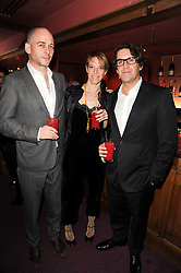 Left to right, DINOS & TIPHAINE CHAPMAN and JAMIE HARGREAVES heir to the Matalan clothing fortune at 'Homage to Nureyev' a tribute to the legendary ballet dancer Rudolf Nureyev performed at the ENO, London COliseum, St.Martin's Lane, London on 21st March 2010.