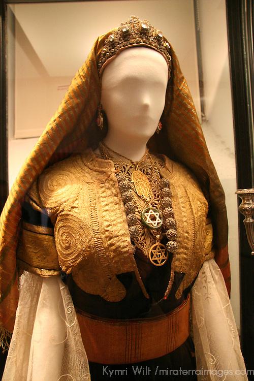 Europe, Spain, Toledo. Sephardic wedding dress in Synagogue of El Transito museum.
