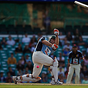 Matthew Hayden loses his bat and his wicket  during Australia's Big Bash Cricket match to raise money for the Victorian Bushfire Appeal at the Sydney Cricket Ground, Sydney, Australia on February 22, 2009. The match was attended by over 20,000 spectators. Photo Tim Clayton