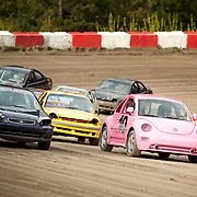 Nancy Knapton in a bright pink Volkswagen Beetle drives her first race at the Pemberton stock car track.  Saturday, May 13, 2017.  <br /> <br /> Photo:  David Buzzard
