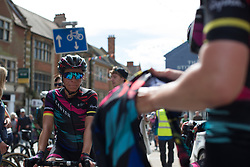 Trixi Worrack (GER) of CANYON//SRAM Racing cools down after Stage 1 of the OVO Energy Women's Tour - a 147.5 km road race, between Daventry and Kettering on June 7, 2017, in Northamptonshire, United Kingdom. (Photo by Balint Hamvas/Velofocus.com)