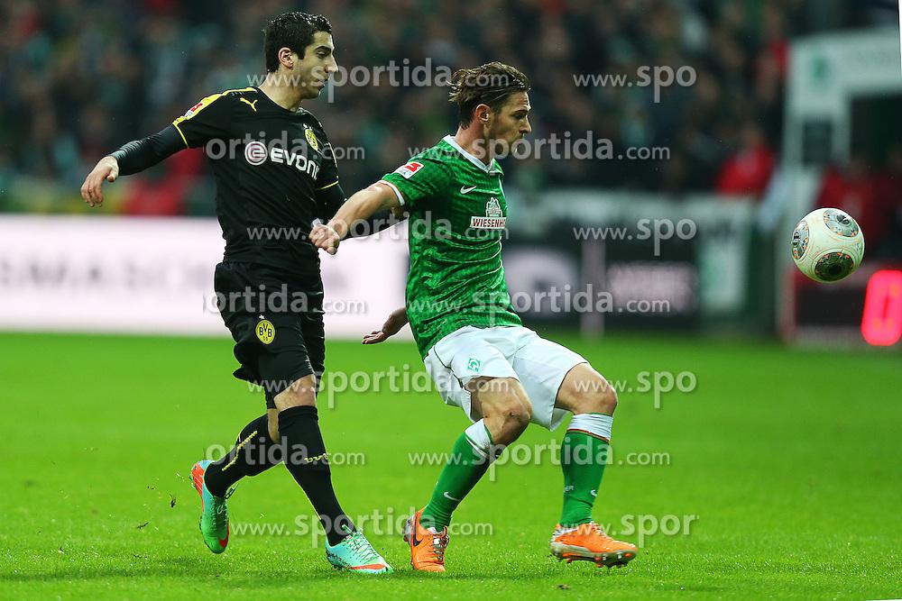 Football: Germany, 1. Bundesliga<br /> Henrikh Mkhitaryan (Borussia Dortmund, BVB), Ludovic Obraniak (SV Werder Bremen)