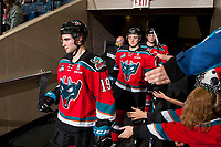 KELOWNA, CANADA - OCTOBER 28: Dillon Dube #19 and Gordie Ballhorn #4 of the Kelowna Rockets enter the ice for third period against the Prince George Cougars on October 28, 2017 at Prospera Place in Kelowna, British Columbia, Canada.  (Photo by Marissa Baecker/Shoot the Breeze)  *** Local Caption ***