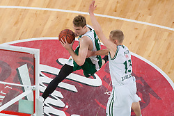 Zoran Dragic of Krka & Sasu Salin of Union Olimpija during basketball match between KK Union Olimpija and KK Krka in 4nd Final match of Telemach Slovenian Champion League 2011/12, on May 24, 2012 in Arena Stozice, Ljubljana, Slovenia. Krka defeated Union Olimpija 65-55. (Photo by Grega Valancic / Sportida.com)