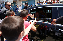 19.05.2015, Ramallah, PSE, FIFA Präsident Blatter besucht Palästina, im Bild der FIFA PRäsident Sepp Blatter bei seinem Palästina Besuch // FIFA president Joseph Blatter waves to Palestinians during his visit to Jalazoun refugee camp, near the West Bank city of Ramallah. Blatter hopes to head off a Palestinian call for a vote to expel Israel from football's governing body but that Israel must make a concession, Palestine on 2015/05/19. EXPA Pictures © 2015, PhotoCredit: EXPA/ APAimages/ Shadi Hatem<br /> <br /> *****ATTENTION - for AUT, GER, SUI, ITA, POL, CRO, SRB only*****
