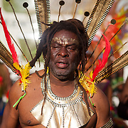 A member of the Unison dance troupe takes part in the carnival. The Notting Hill Carnival has been running since 1966 and is every year attended by up to a million people. The carnival is a mix of amazing dance parades and street parties with a distinct Caribbean feel.