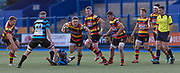 Carmarthen Quins' centre Scott Lloyd makes a break in midfield.<br /> <br /> Cardiff Arms Park, Cardiff, Wales, UK - Saturday 19th October, 2019.<br /> <br /> Images from the Indigo Welsh Premiership rugby match between Cardiff RFC and Carmarthen Quins RFC. <br /> <br /> Photographer Dan Minto<br /> <br /> mail@danmintophotography.com <br /> www.danmintophotography.com