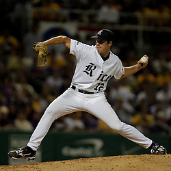 05 June 2009: Rice pitcher, Matt Evers (12) throws during a 12-9 victory by the LSU Tigers over the Rice Owls in game one of the NCAA baseball College World Series, Super Regional played at Alex Box Stadium in Baton Rouge, Louisiana.