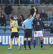 Iain Davidson gets shown the yellow card by referee Steven McLean - Dundee v Livingston,  SPFL Championship at Dens Park<br /> <br />  - &copy; David Young - www.davidyoungphoto.co.uk - email: davidyoungphoto@gmail.com