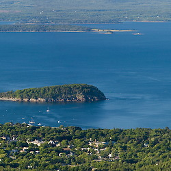 The view of Frenchman Bay  and Bar  Harbor from Cadillac Mountain in Maine's Acadia National Park.  Mount Desert Island.