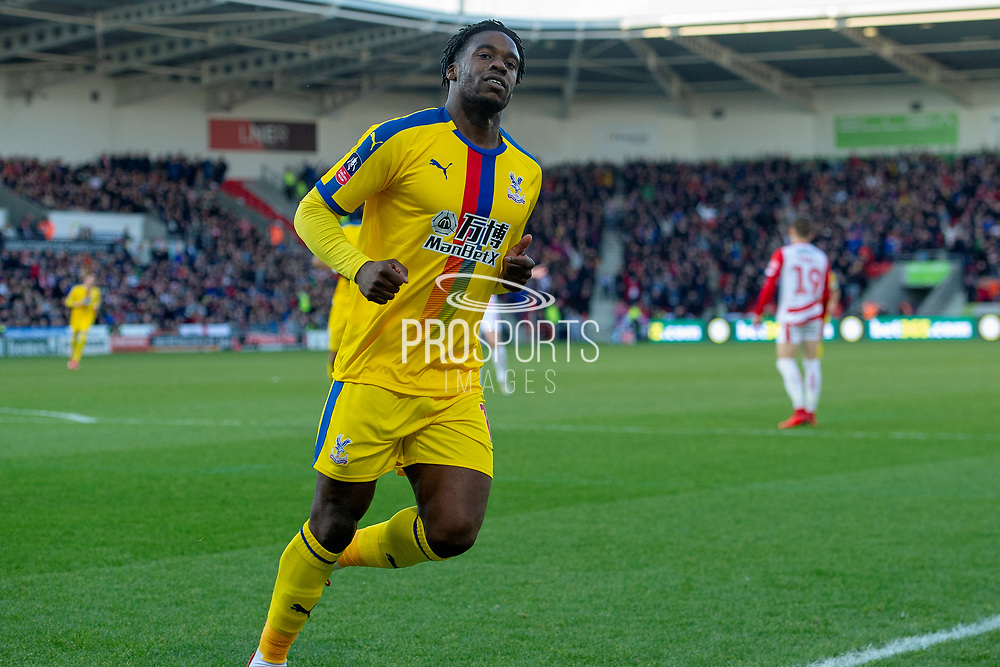 Goal Crystal Palace defender Jeffrey Schlupp (15) celebrates as he scores a goal to take the lead 0-1 during the The FA Cup 5th round match between Doncaster Rovers and Crystal Palace at the Keepmoat Stadium, Doncaster, England on 17 February 2019.