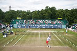 NOTTINGHAM, ENGLAND - Sunday, June 14, 2009: Greg Rusedski (GBR) serves to Richard Krajicek (NED) on finals day of the Tradition Nottingham Masters tennis event at the Nottingham Tennis Centre. (Pic by David Rawcliffe/Propaganda)
