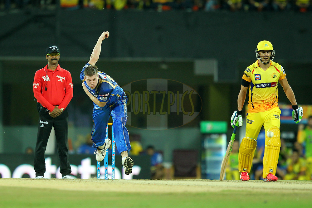 James Faulkner of Rajasthan Royals bowls during match 47 of the Pepsi IPL 2015 (Indian Premier League) between The Chennai Superkings and The Rajasthan Royals held at the M. A. Chidambaram Stadium, Chennai Stadium in Chennai, India on the 10th May 2015.Photo by:  Prashant Bhoot / SPORTZPICS / IPL