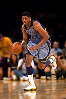 06 November 2009: Forward Rudy Gay of the Memphis Grizzles dribbles the ball up the court against the Los Angeles Lakers during the first half of the Lakers 114-98 victory over the Grizzles at the STAPLES Center in Los Angeles, CA.