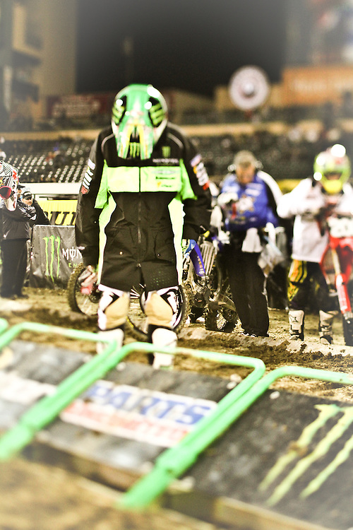 Jake Weimer reads the starting gate tea leaves at Anaheim Stadium, CA.