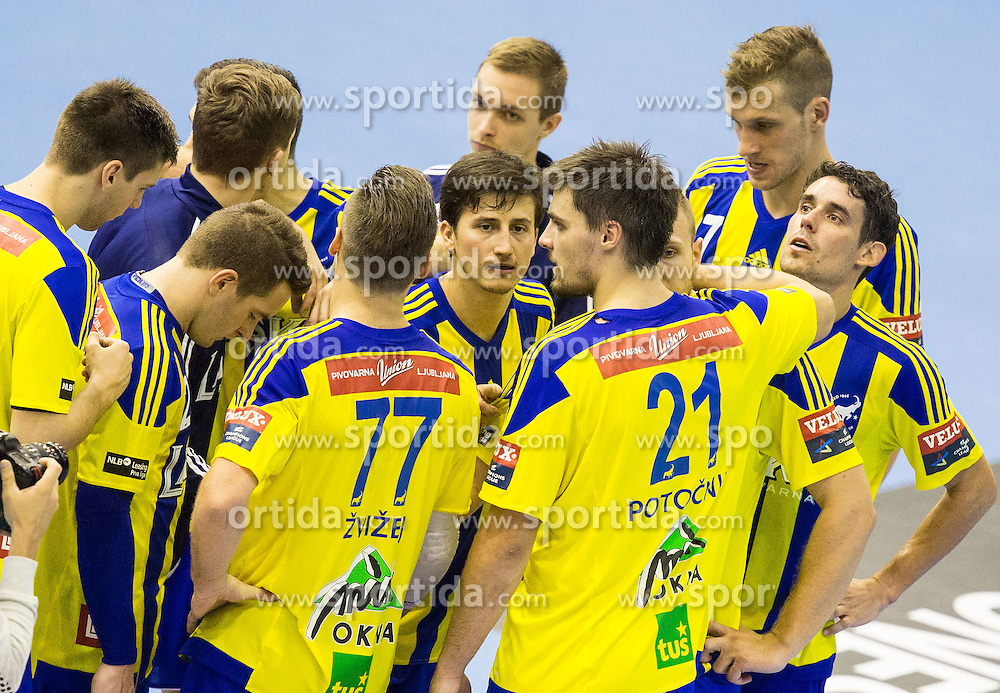 Players of Celje look dejected after the handball match between RK Celje Pivovarna Lasko and RK Zagreb in Round #2 of Group Phase of EHF Champions League 2015/16, on September 26, 2015 in Arena Zlatorog, Celje, Slovenia. Photo by Vid Ponikvar / Sportida