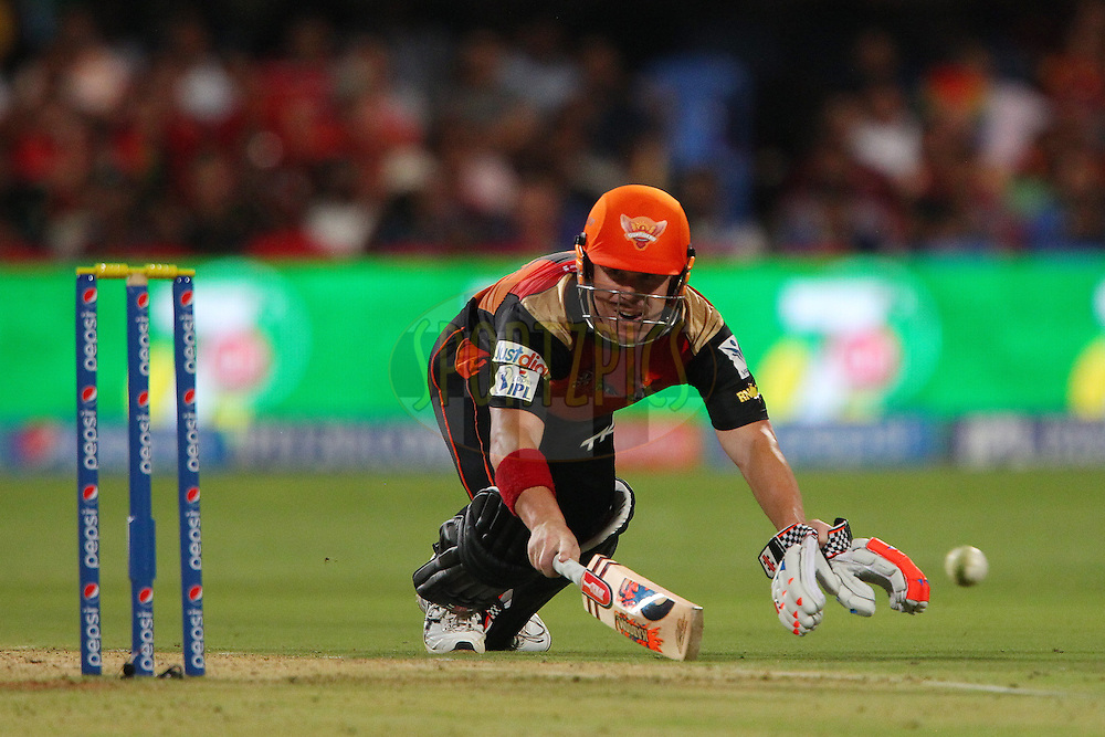 David Warner of the Sunrisers Hyderabad makes his ground during match 24 of the Pepsi Indian Premier League Season 2014 between the Royal Challengers Bangalore and the Sunrisers Hyderabad held at the M. Chinnaswamy Stadium, Bangalore, India on the 4th May  2014<br /> <br /> Photo by Ron Gaunt / IPL / SPORTZPICS<br /> <br /> <br /> <br /> Image use subject to terms and conditions which can be found here:  http://sportzpics.photoshelter.com/gallery/Pepsi-IPL-Image-terms-and-conditions/G00004VW1IVJ.gB0/C0000TScjhBM6ikg