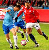 Fotball VM kvalifisering 15.10.2008<br /> FIFA World Cup South Africa Qualifier<br /> Ullevaal Stadium <br /> Norge vs Nederland<br /> Norway vs Netherlands<br /> <br /> Result<br /> <br /> Foto: Robert Christensen Digitalsport<br /> <br /> Norway John carew<br /> <br /> Netherlands Andre Ooijer