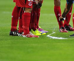 Referee Mark Clattenburg uses the magic spray to mark a defensive wall - Photo mandatory by-line: Joe Meredith/JMP - Mobile: 07966 386802 12/08/2014 - SPORT - FOOTBALL - Cardiff - Cardiff City Stadium - Real Madrid v Sevilla - UEFA Super Cup