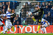 Brentford defender Henrik Dalsgaard (22) clears the ball off the line during the EFL Sky Bet Championship match between Queens Park Rangers and Brentford at the Kiyan Prince Foundation Stadium, London, England on 28 October 2019.