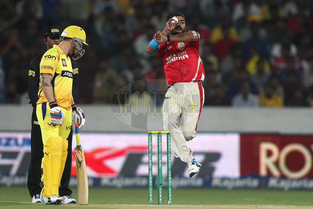 Anureet Singh of the Kings XI Punjab sends down a delivery during the second semi final match of the Oppo Champions League Twenty20 between the Kings XI Punjab and the Chennai Superkings held at the Rajiv Gandhi Cricket Stadium, Hyderabad, India on the 2nd October 2014<br /> <br /> Photo by:  Shaun Roy / Sportzpics/ CLT20<br /> <br /> <br /> Image use is subject to the terms and conditions as laid out by the BCCI/ CLT20.  The terms and conditions can be downloaded here:<br /> <br /> http://sportzpics.photoshelter.com/gallery/CLT20-Image-Terms-and-Conditions-2014/G0000IfNJn535VPU/C0000QhhKadWcjYs