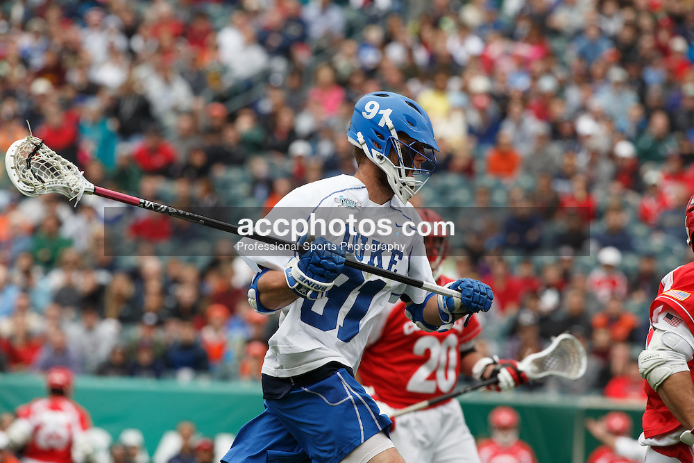 2013 May 25: Luke Duprey #91 of the Duke Blue Devils during a 16-14 victory over the Cornell Big Red in the NCAA semifinals at Lincoln Financial Field in Philadelphia, PA.