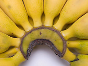 extreme close up of bunch bananas