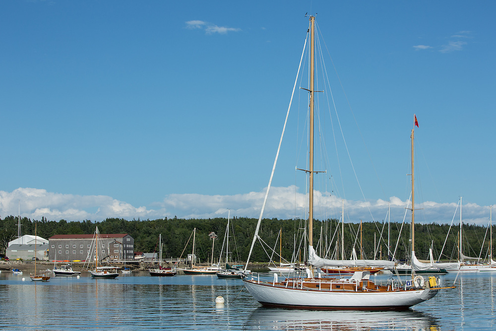 Center Harbor, Maine - 9 August 2014. Boats at anchor in the harbor.