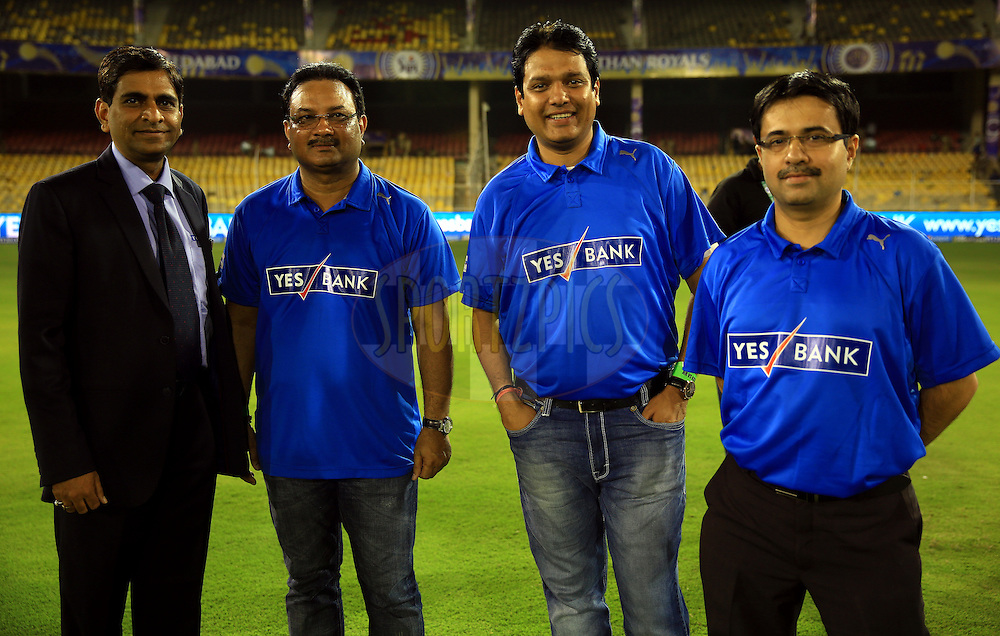 Yes Bank Team Members during match 25 of the Pepsi Indian Premier League Season 2014 between the Rajasthan Royals and the Kolkata Knight Riders held at the Sardar Patel Stadium, Ahmedabad, India on the 5th May  2014<br /> <br /> Photo by Sandeep Shetty / IPL / SPORTZPICS      <br /> <br /> <br /> <br /> Image use subject to terms and conditions which can be found here:  http://sportzpics.photoshelter.com/gallery/Pepsi-IPL-Image-terms-and-conditions/G00004VW1IVJ.gB0/C0000TScjhBM6ikg