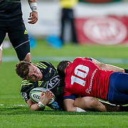 Ricky Riccitelli tackled during the Super rugby union game (Round 14) played between Hurricanes v Reds, on 18 May 2018, at Westpac Stadium, Wellington, New  Zealand.    Hurricanes won 38-34.