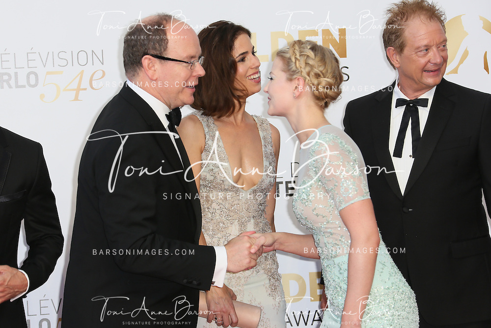 MONTE-CARLO, MONACO - JUNE 11:  HSH Prince Albert II of Monaco and Jennifer Morrison attend the Closing Ceremony and Golden Nymph Awards of the 54th Monte Carlo TV Festival on June 11, 2014 in Monte-Carlo, Monaco.  (Photo by Tony Barson/FilmMagic)