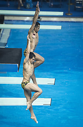 WUHAN, June 5, 2018  Jahir Ocampo Marroquin/Rommel Pacheco Marrufo (Front) of Mexico compete during the men's 3m springboard synchronised final at the FINA Diving World Cup 2018 in Wuhan, central China's Hubei Province, on June 5, 2018. Jahir Ocampo Marroquin/Rommel Pacheco Marrufo took the third place with a total of 435.72 points. (Credit Image: © Xiao Yijiu/Xinhua via ZUMA Wire)