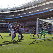 NEW YORK, NEW YORK - May 29:  Frederic Brillant #13 of New York City FC heads his side first goal past goalkeeper Joseph Bendik #1 of Orlando City FC during the New York City FC Vs Orlando City, MSL regular season football match at Yankee Stadium, The Bronx, May 29, 2016 in New York City. (Photo by Tim Clayton/Corbis via Getty Images)
