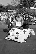 Fancy dress, at front; 1st Mrs Cleary & Barron (Daisy the cow) Brodsworth. Back l to r: 4th Denise Sagar (Drunk) Wooley; 3rd Harry Isley (Tool Box) Houghton Main; David Rose (Pregnant Nun) Treeton. Yorkshire Area NUM 100th Demonstration and Gala, Barnsley.
