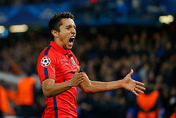 Marquinhos of Paris Saint-Germain celebrates after his side go through to the Quarter Finals on away goals after drawing the match 2-2 (3-3) - Photo mandatory by-line: Rogan Thomson/JMP - 07966 386802 - 11/03/2015 - SPORT - FOOTBALL - London, England - Stamford Bridge - Chelsea v Paris Saint-Germain - UEFA Champions League Round of 16 Second Leg.