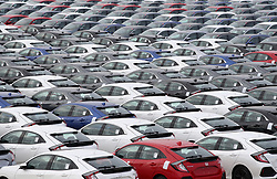 File photo dated 25/01/13 of Honda cars lined up at Southampton Docks prior to being loaded onto a car container ship for export. Honda is planning to close its plant in Swindon in three years time, according to unconfirmed reports.