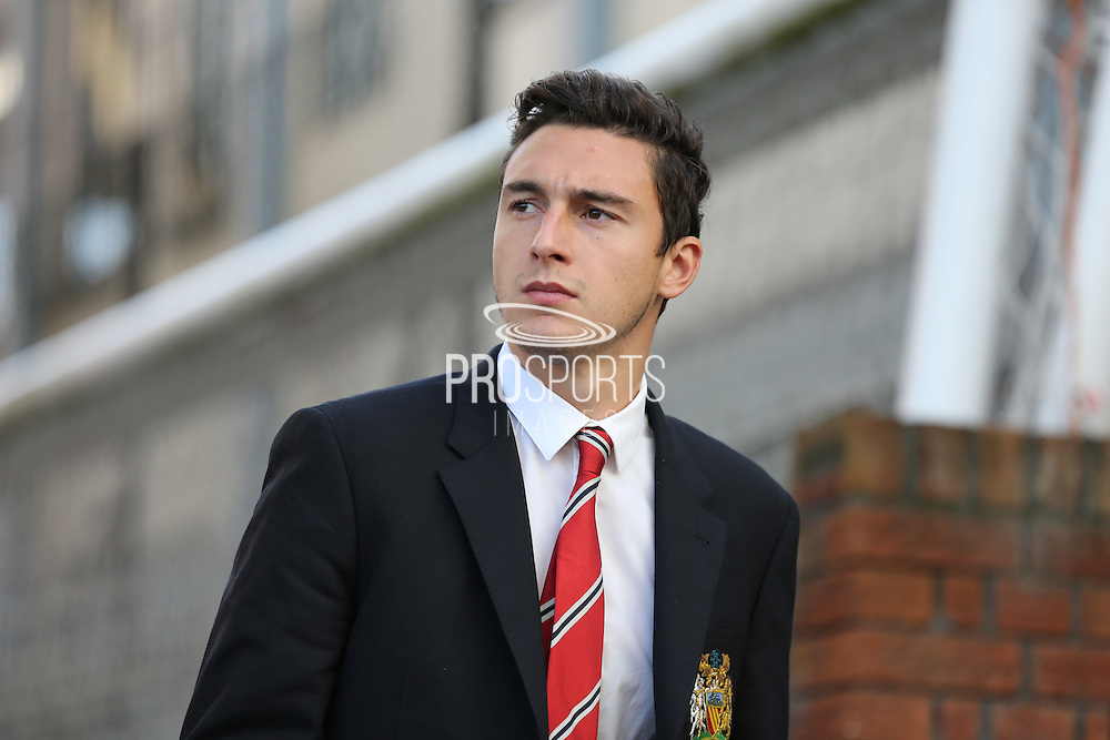 Matteo Darmian of Manchester United arriving for the Barclays Premier League match between Crystal Palace and Manchester United at Selhurst Park, London, England on 31 October 2015. Photo by Ellie Hoad.