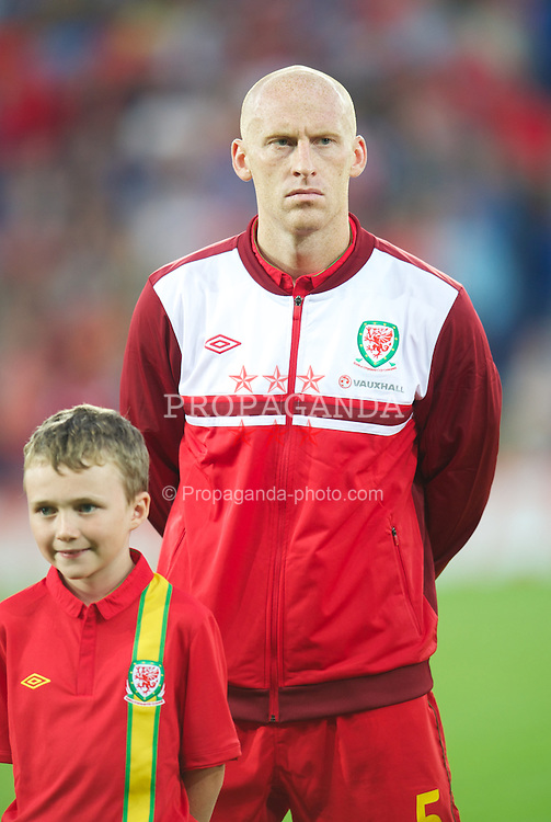 CARDIFF, WALES - Friday, September 7, 2012: Wales' James Collins before the 2014 FIFA World Cup Brazil Qualifying Group A match against Belgium at the Cardiff City Stadium. (Pic by David Rawcliffe/Propaganda)