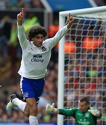 BIRMINGHAM, ENGLAND - Saturday, August 25, 2012: Everton's Marouane Fellaini celebrates scoring the second goal against Aston Villa during the Premiership match at Villa Park. (Pic by David Rawcliffe/Propaganda)