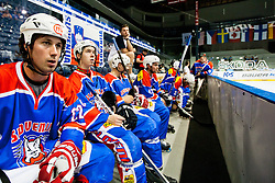 Ales Remar of Slovenia and Slovenian bench at IIHF In-Line Hockey World Championships 2011 Top Division quarter final match between National teams of Slovenia and Sweden on June 23, 2011, in Pardubice, Czech Republic. (Photo by Matic Klansek Velej / Sportida)