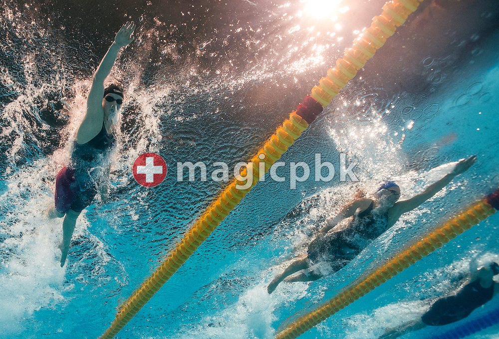(L-R) Katie Ledecky of the United States of America (USA) and Melanie Costa Schmid of Spain compete in the women's 400m Freestyle Final during the 15th FINA World Aquatics Championships at the Palau Sant Jordi in Barcelona, Spain, Sunday, July 28, 2013. (Photo by Patrick B. Kraemer / MAGICPBK)