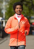 Virgin Money London Marathon 2015<br /> <br /> Winners Photocall<br /> <br />  Tigist Tufa Ethiopia Women Winner<br /> <br /> Photo: Bob Martin for Virgin Money London Marathon<br /> <br /> This photograph is supplied free to use by London Marathon/Virgin Money.