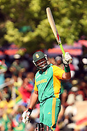 Jacques Kallis celebrates his half century during the first Sunfoil ODI between the Proteas and Sri Lanka played at Boland Stadium in Paarl, South Africa on 11 January 2012. Photo by Jacques Rossouw/SPORTZPICS