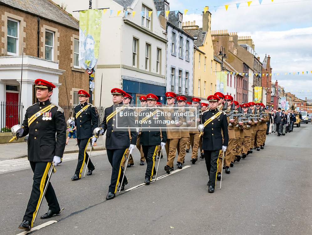 Pictured: Yeomanry receive Freedom of East Lothian, Dunbar, East Lothian, Scotland, United Kingdom, 06 July 2019. The historic Lothians and Border regiment is granted Freedom of East Lothian by Councillor Jim Goodfellow, East Lothian Council's Armed Forces Champion, which is accepted by Major S J Vine. The Yeomanry's links with the county date back to 1797.<br /> The regiment parades through Dunbar High Street.<br /> <br /> Sally Anderson   EdinburghElitemedia.co.uk