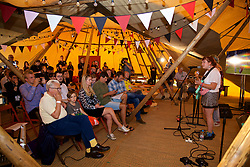 CARDIFF, WALES - Thursday, August 9, 2018: Welsh language band Adwaith perform at an FAW press conference as Wales announce the squad for the final FIFA Women's World Cup 2019 Qualifying Round Group 1 match against England at the Eisteddfod in Cardiff Bay. (Pic by David Rawcliffe/Propaganda)